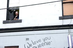 """Bruce Milne addresses the crowd from a window during the """"Save The Tote"""" protest - Sunday 17th January 2010"""